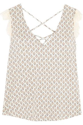 EBERJEY By The Sea lace-trimmed printed stretch-jersey camisole