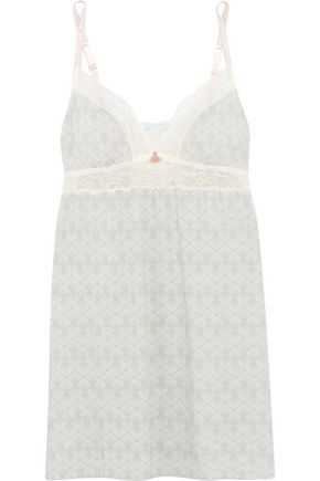 EBERJEY Looking Glass lace-trimmed printed jersey chemise