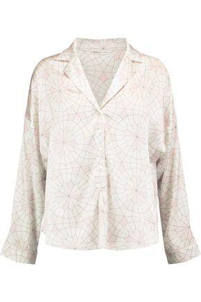 MIMI HOLLIDAY by DAMARIS Seychelle printed stretch-silk satin pajama shirt
