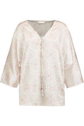 MIMI HOLLIDAY by DAMARIS Seychelles printed stretch-silk pajama top