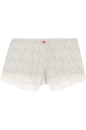 EBERJEY Looking Glass lace-trimmed printed jersey shorts