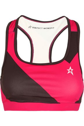 PERFECT MOMENT Printed stretch-jersey sports bra