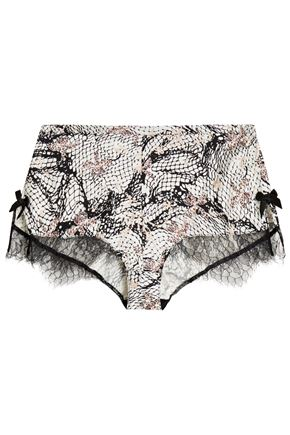 AGENT PROVOCATEUR Pearle Leavers lace-trimmed printed stretch silk-satin briefs