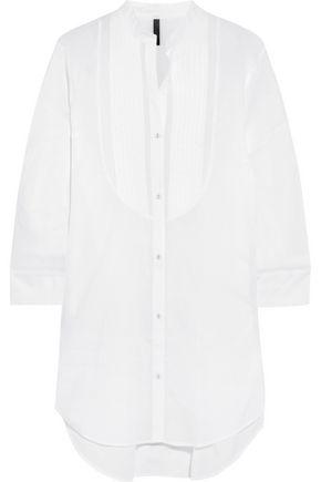 ELLE MACPHERSON BODY Pintucked cotton-poplin pajama shirt