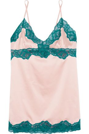 ELLE MACPHERSON BODY Sass lace-trimmed stretch-satin chemise