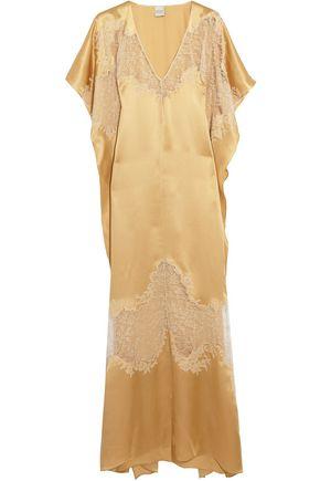 CARINE GILSON Chantilly lace-paneled silk-satin nightdress