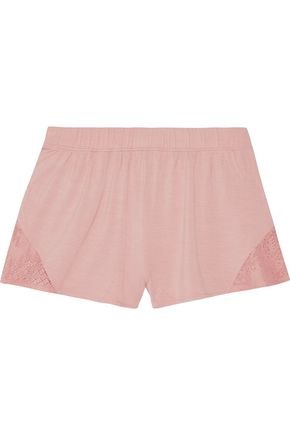 SKIN Lace-trimmed stretch-jersey pajama shorts