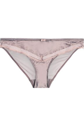 HEIDI KLUM INTIMATES Low-rise tulle-paneled lace-trimmed satin briefs