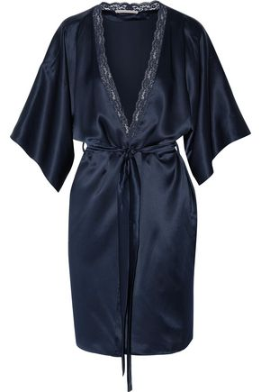 STELLA McCARTNEY Clara Whispering lace-trimmed silk-satin robe