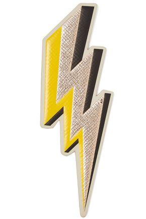 ANYA HINDMARCH Lightening Bolt metallic textured-leather sticker