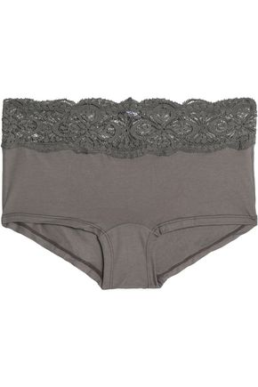 COSABELLA Mid-rise lace-trimmed cotton-blend stretch-jersey briefs