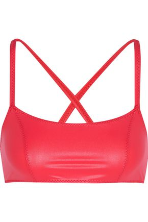 LISA MARIE FERNANDEZ Glossed stretch-jersey sports bra