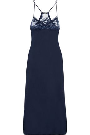 LA PERLA Whisper Leavers lace-paneled stretch-jersey nightdress