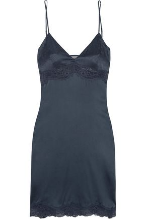 STELLA McCARTNEY Rosie Dreaming Leavers lace-trimmed stretch-silk chemise