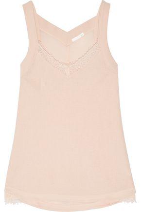 SKIN Lace-trimmed cotton-gauze pajama top