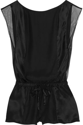 CALVIN KLEIN UNDERWEAR Tulle-trimmed silk-satin playsuit