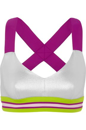 NO KA 'OI Ola striped metallic sports bra