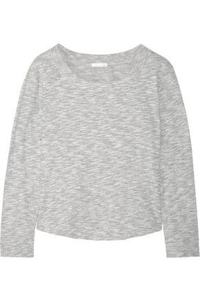 SKIN Cotton-blend mouliné pajama top