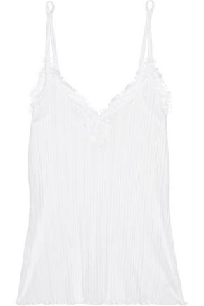 SKIN Lace-trimmed ribbed Pima cotton camisole