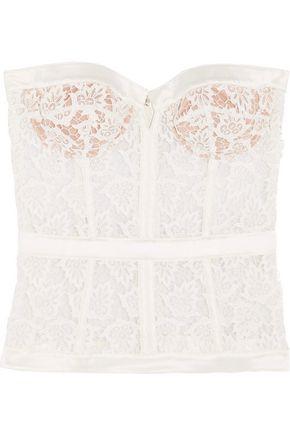 LA PERLA Satin-trimmed guipure lace corset