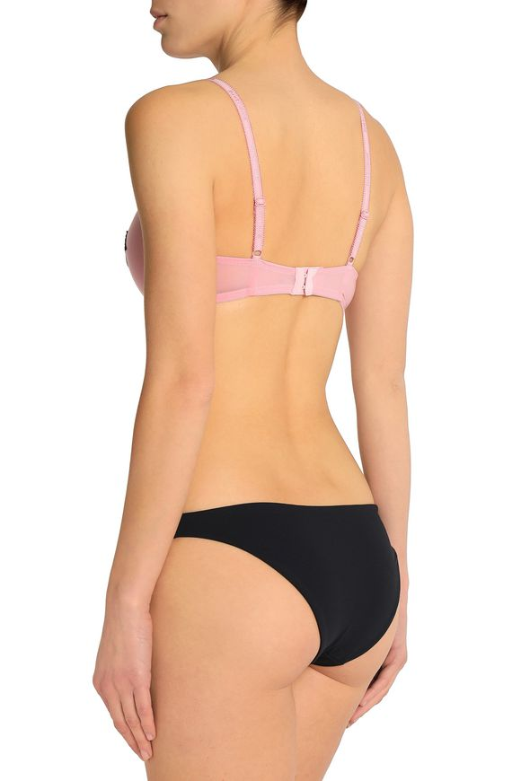 Just Cavalli Underwear Woman Two-tone Lace-appliqued Knitted Push Up Bra Pink Size II Just Cavalli Recommend JgWwYr945