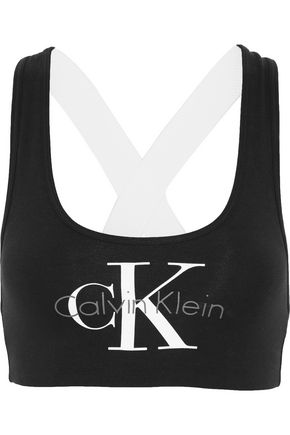 CALVIN KLEIN UNDERWEAR Glittered racer-back cotton-blend bra