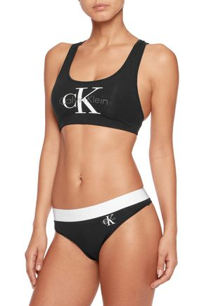... CALVIN KLEIN UNDERWEAR Printed stretch-cotton sports bra ... feef900fe
