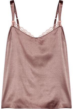 HEIDI KLUM INTIMATES Lace-trimmed silk-blend satin pajama top