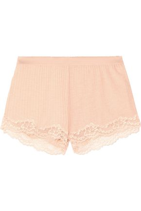 STELLA McCARTNEY Lily Blushing lace-trimmed ribbed jersey shorts