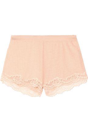 STELLA McCARTNEY Lily Blushing lace-trimmed ribbed jersey shorts