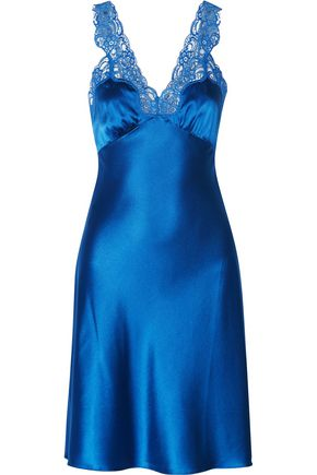 STELLA McCARTNEY Eloise Enchanting lace-trimmed stretch-silk satin chemise