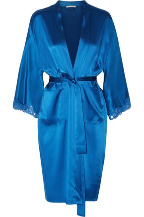 STELLA McCARTNEY Eloise Enchanting lace-trimmed silk-blend satin robe