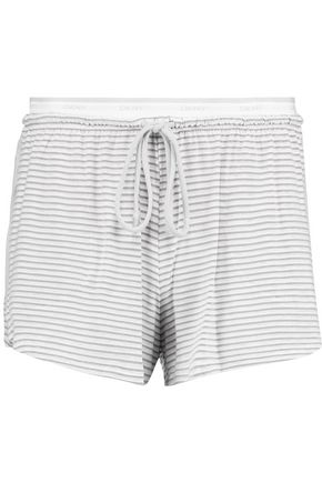 DKNY Striped stretch-modal shorts