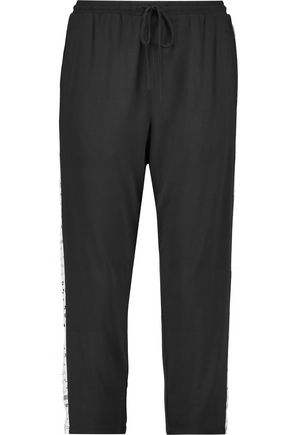 DKNY Two-tone lace-paneled modal skinny pants