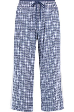 DKNY Printed stretch-modal wide-leg pants