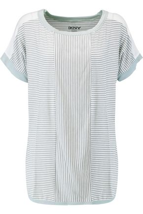 DKNY Striped stretch-modal top