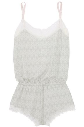 EBERJEY Looking Glass Teddy lace-trimmed printed jersey playsuit
