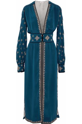 TALITHA Velvet-trimmed embroidered silk maxi dress