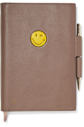 ANYA HINDMARCH Reversible embossed textured-leather A5 notebook set