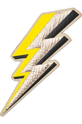 ANYA HINDMARCH Lightning Bolt textured-leather sticker