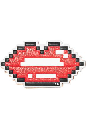 ANYA HINDMARCH Lips textured-leather sticker
