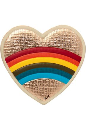 ANYA HINDMARCH Heart metallic textured-leather sticker
