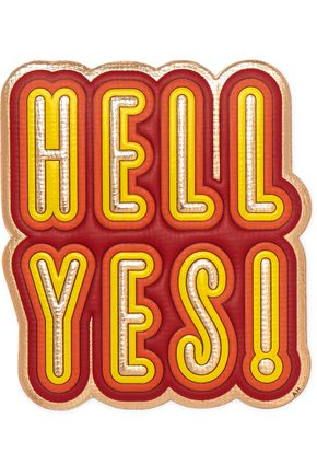 ANYA HINDMARCH Hell Yes metallic textured-leather sticker