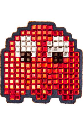 ANYA HINDMARCH Crystal-embellished suede sticker