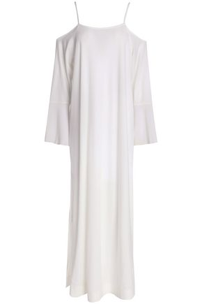 SKIN Cold-shoulder gauze-paneled Pima cotton-jersey nightdress