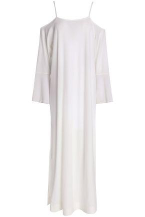 SKIN Cold-shoulder gauze-paneled Pima cotton-jersey nightdress