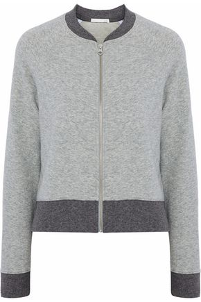 SKIN Voile-trimmed two-tone French stretch-cotton terry sweatshirt