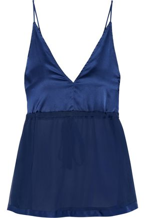 FLEUR DU MAL Silk-satin and chiffon-paneled chemise