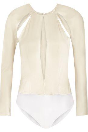 PEDRO DEL HIERRO Cutout silk-satin bodysuit