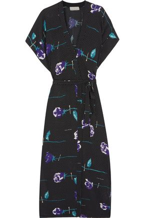FLEUR DU MAL Printed silk midi dress